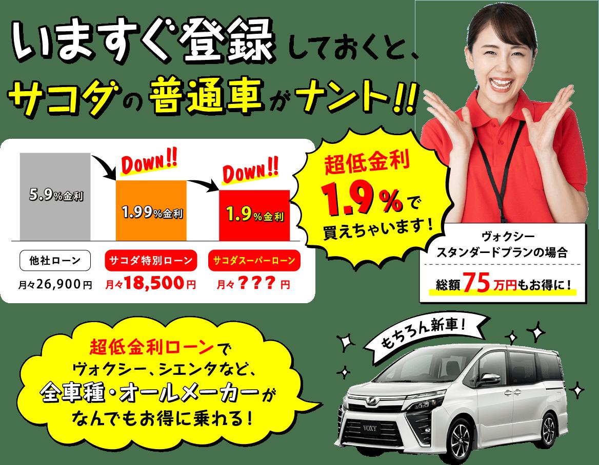 サコダ車輛は、軽だけじゃない!普通車も安いんです!!超低金利ローンでヴォクシーにお得に乗れる!!
